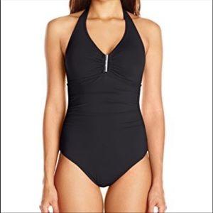 Calvin Klein Black Ruched One Piece Bathing Suit
